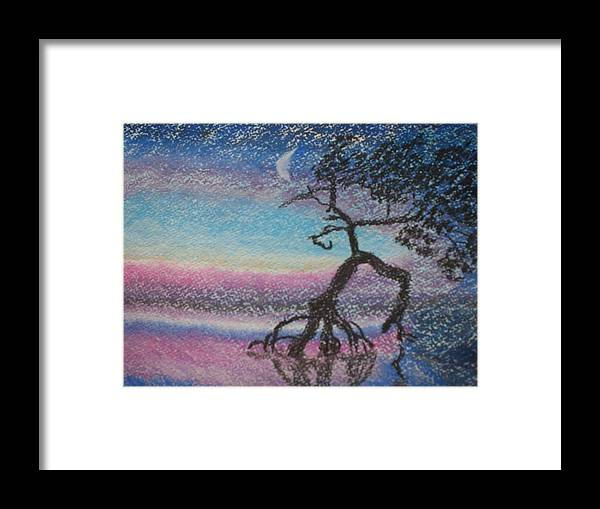 Landscape Framed Print featuring the pastel Lone Dancer By Moonlight by Warren Thompson