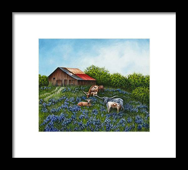 Barn Framed Print featuring the painting Lone Star Bluebonnets by Debra Sue Waters