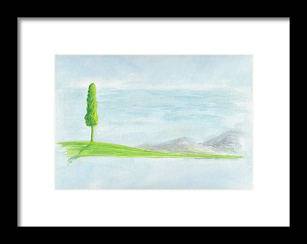 Landscape Framed Print featuring the painting Lone Tree 2010 by Thomas Griffith