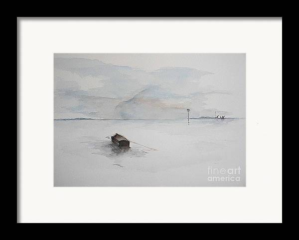Boat Framed Print featuring the painting Lonely Mooring by Sibby S