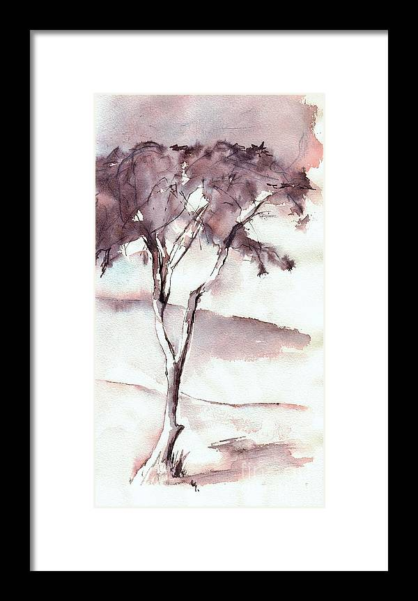 Tree Framed Print featuring the drawing Lonely Tree by Karina Plachetka
