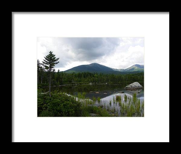 Mountain Framed Print featuring the photograph Lonesome Pine At Sandy Stream Pond by Georgia Hamlin