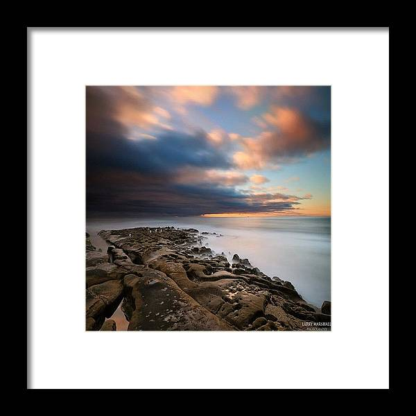 Framed Print featuring the photograph Long Exposure Sunset Of An Incoming by Larry Marshall