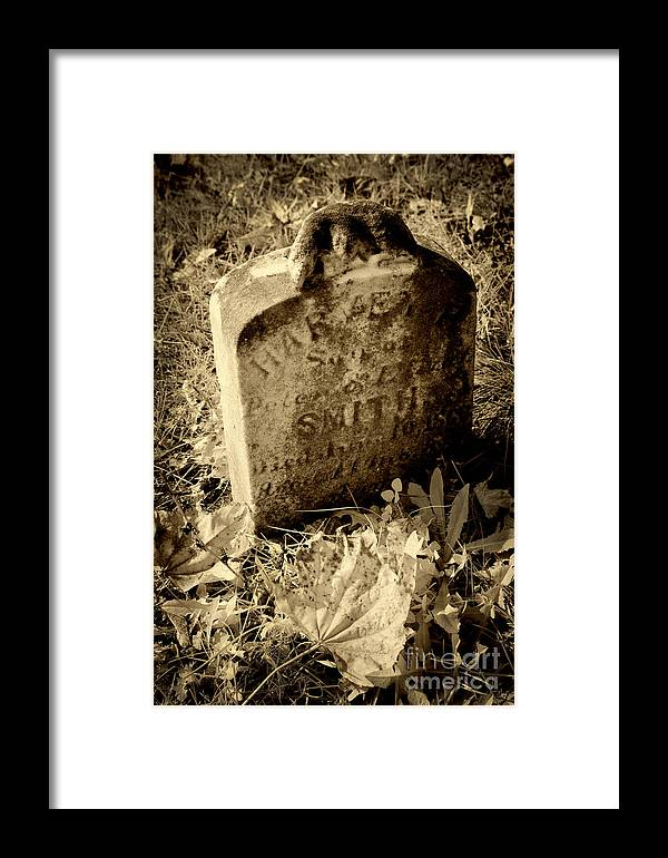 Tombstone Framed Print featuring the photograph Long Gone Child by Paul W Faust - Impressions of Light