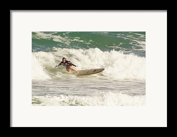 Surf Framed Print featuring the photograph Longboard Lady by Lynda Dawson-Youngclaus