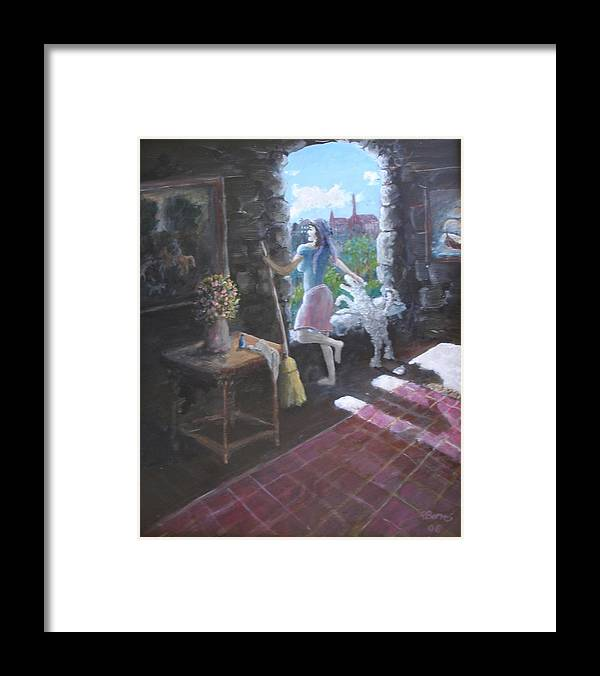 Maid Dog Girl Old Castle Broom Sun Sunshine Framed Print featuring the painting Look Fluffy by Ronald Barnes