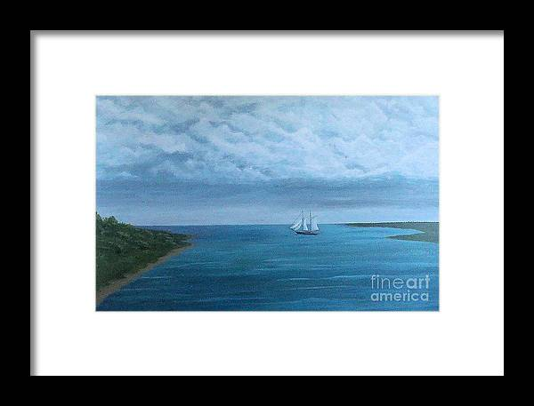 Sail Boat Framed Print featuring the painting Looking For Open Water by Ron Chabot