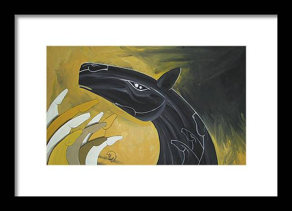 Horse Framed Print featuring the painting Looking High by Ali ArtDesign