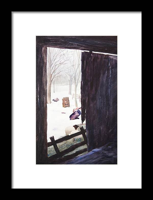 Landscape Framed Print featuring the painting Looking Out Looking In by Rachel Christine Nowicki