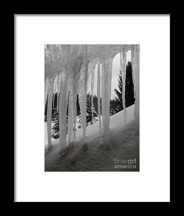 Icicles Framed Print featuring the photograph Looking Out The Window by Margaret McDermott
