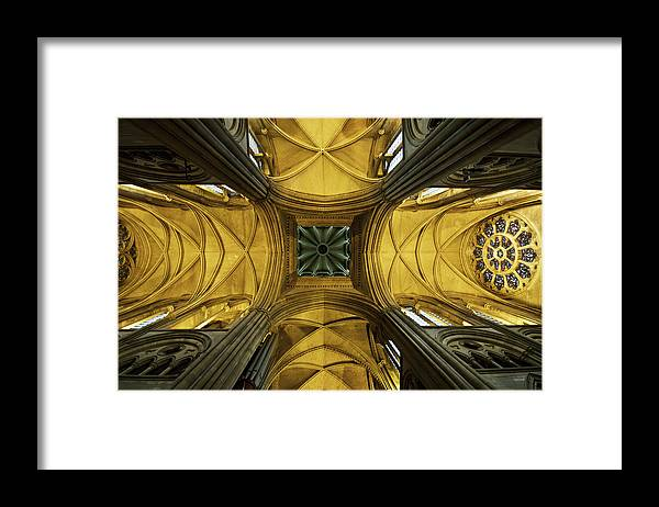 Arch Framed Print featuring the photograph Looking Up At A Cathedral Ceiling by James Ingham / Design Pics
