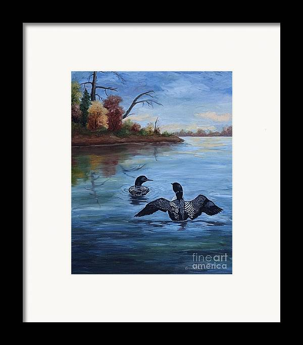 Loons Framed Print featuring the painting Loon Dance II by Brenda Thour