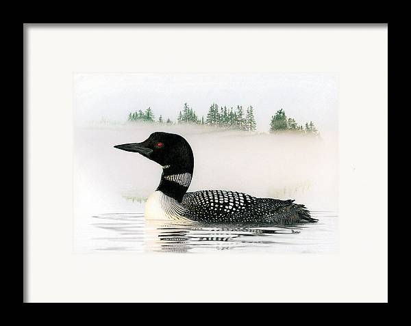 Loon Framed Print featuring the drawing Loon In Fog by Brent Ander