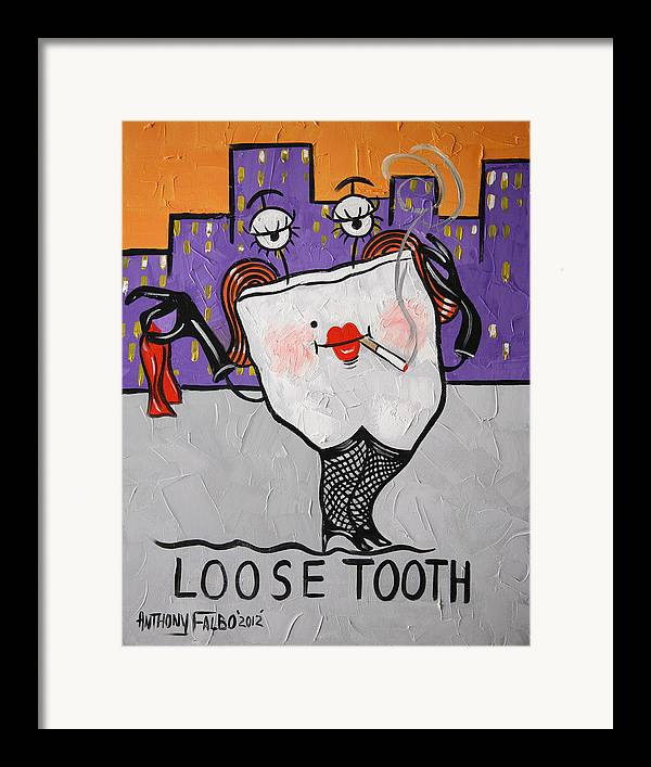 Loose Tooth Framed Prints Framed Print featuring the painting Loose Tooth by Anthony Falbo