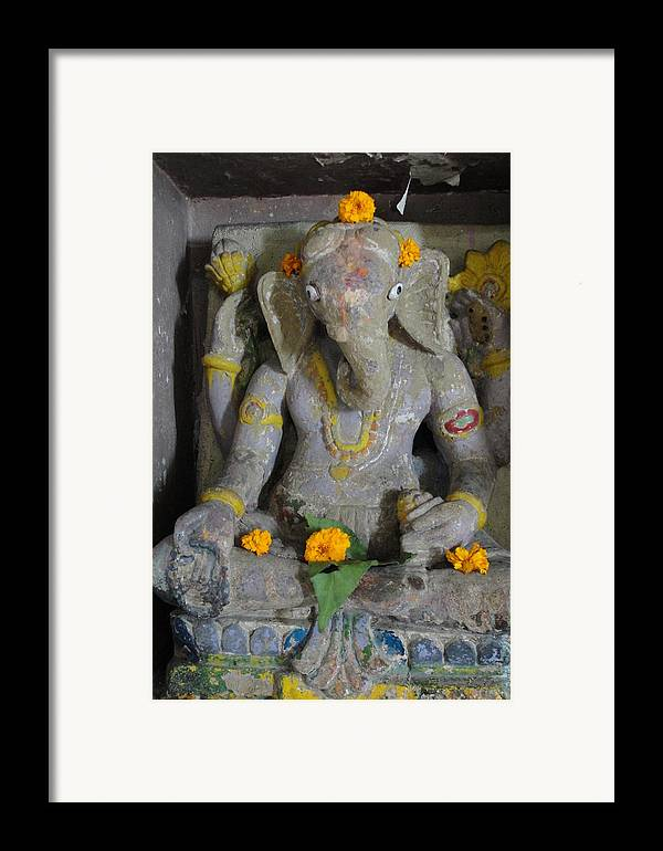 Lord Ganesha At Shiv Temple Framed Print featuring the sculpture Lord Ganesha by Makarand Kapare