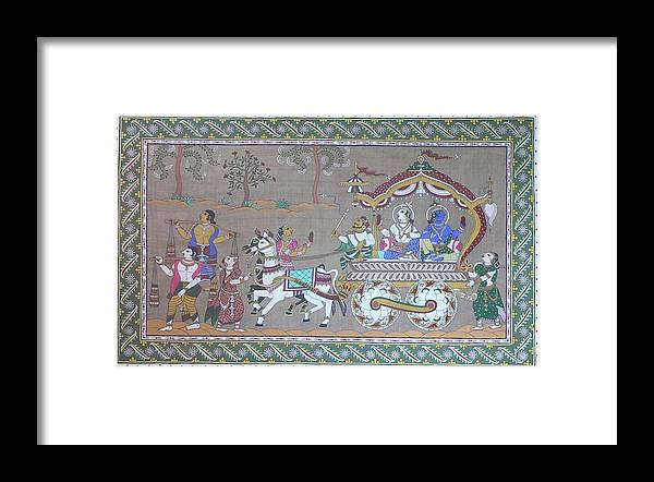 Mythological Framed Print featuring the painting Lord Krishna With Brother Visiting Mathura by Prasida Yerra
