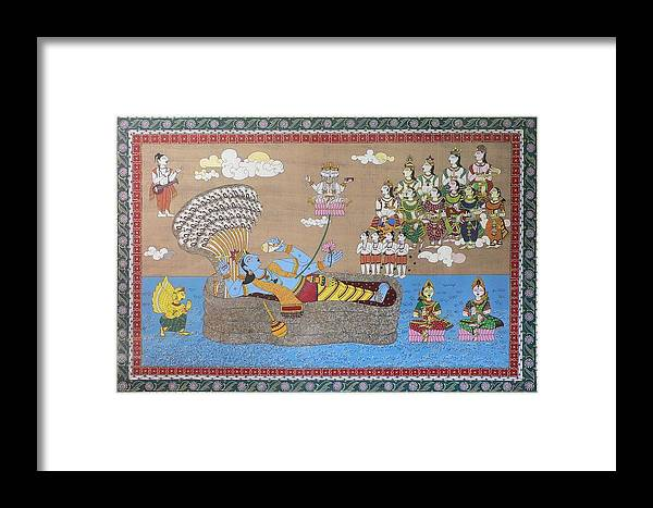 Mythology Framed Print featuring the painting Lord Vishnu In Ananta Sayan Posture by Prasida Yerra