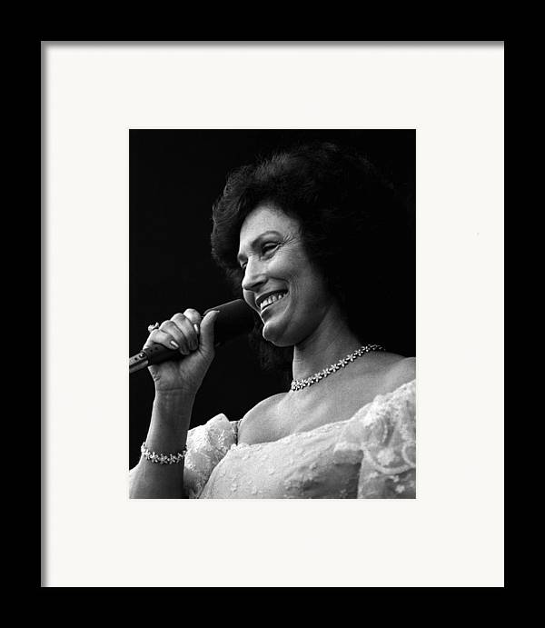 Retro Images Archive Framed Print featuring the photograph Loretta Lynn Singing by Retro Images Archive