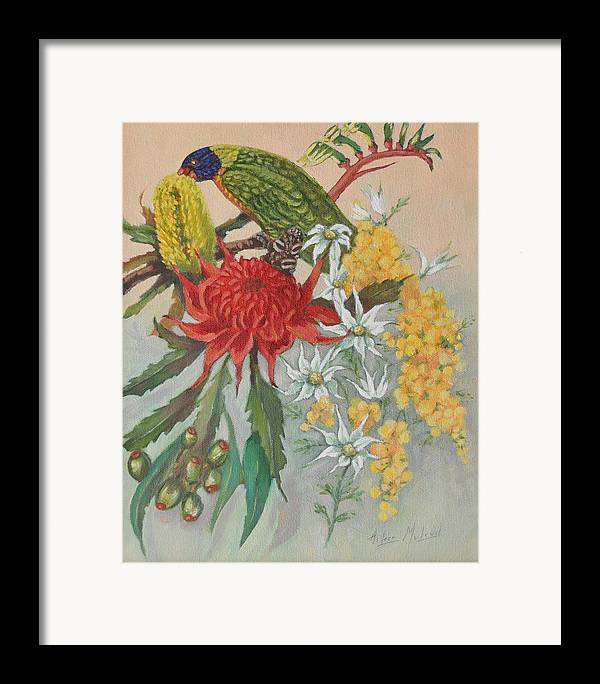 Bird Portraits Framed Print featuring the painting Lorikeet And Wildflowers by Aileen McLeod