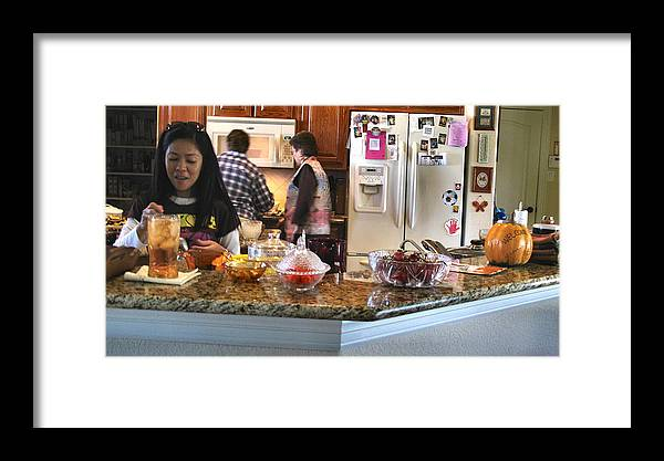 Thanksgiving Day Framed Print featuring the photograph Lorna Kitchen Busy2 2009 by Glenn Bautista