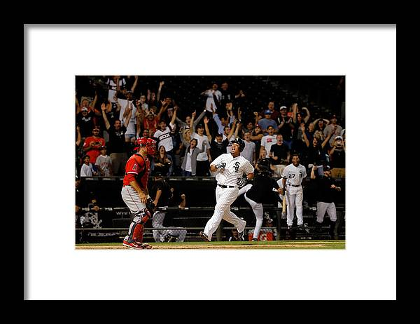 People Framed Print featuring the photograph Los Angeles Angels Of Anaheim V Chicago by Jon Durr