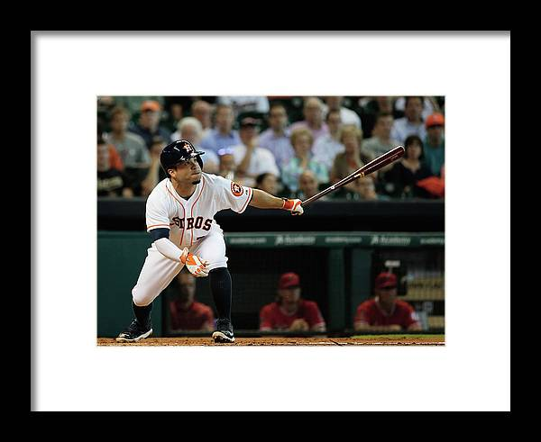 American League Baseball Framed Print featuring the photograph Los Angeles Angels Of Anaheim V Houston by Scott Halleran