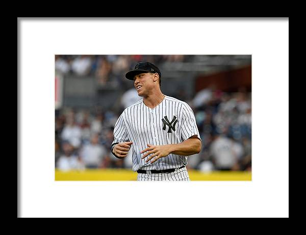 American League Baseball Framed Print featuring the photograph Los Angeles Angels of Anaheim v New York Yankees by G Fiume