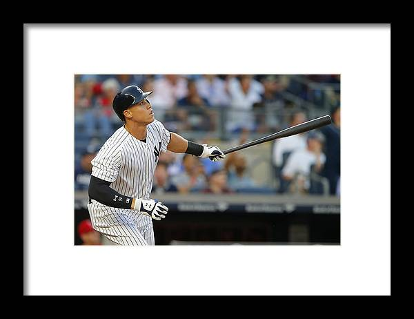 Second Inning Framed Print featuring the photograph Los Angeles Angels of Anaheim v New York Yankees by Rich Schultz