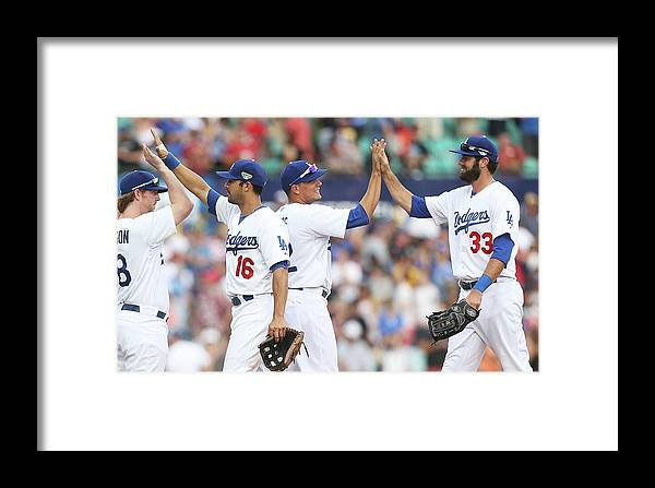 Celebration Framed Print featuring the photograph Los Angeles Dodgers V Arizona by Mark Metcalfe