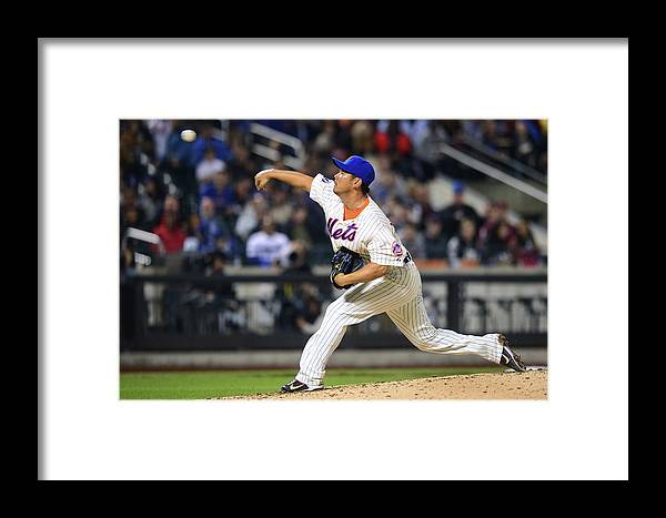 American League Baseball Framed Print featuring the photograph Los Angeles Dodgers V New York Mets by Ron Antonelli