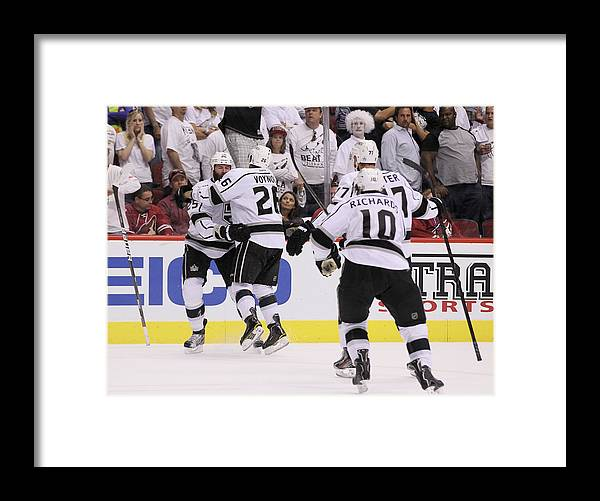 Playoffs Framed Print featuring the photograph Los Angeles Kings V Phoenix Coyotes - by Jeff Gross