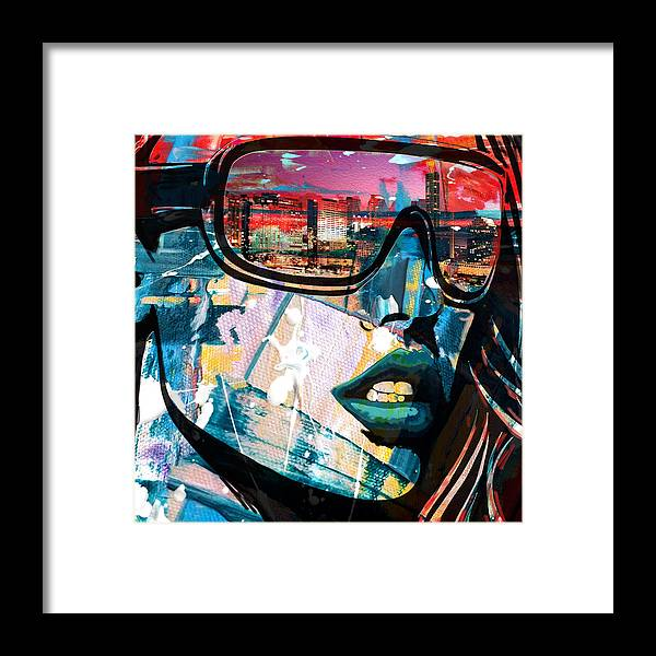 Los Angeles Framed Print featuring the painting Los Angeles Skyline by Corporate Art Task Force