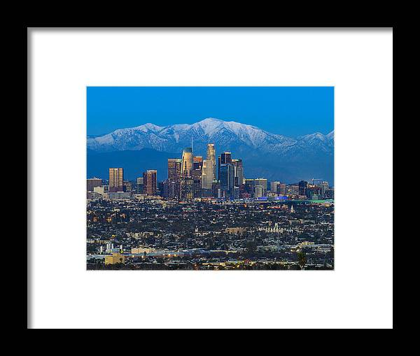 Downtown District Framed Print featuring the photograph Los Angeles Skyline With Snow Capped Mountains by Carl Larson Photography