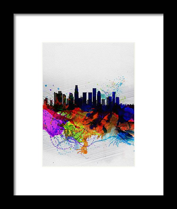 Los Angeles Framed Print featuring the painting Los Angeles Watercolor Skyline 2 by Naxart Studio