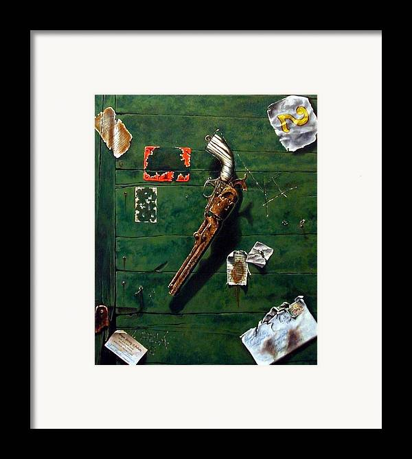 Trompe Le Oil Framed Print featuring the painting Lost And Found by Jim Gola