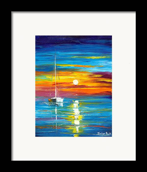 Seascape Framed Print Featuring The Painting Lost At Sea By Jessilyn Park