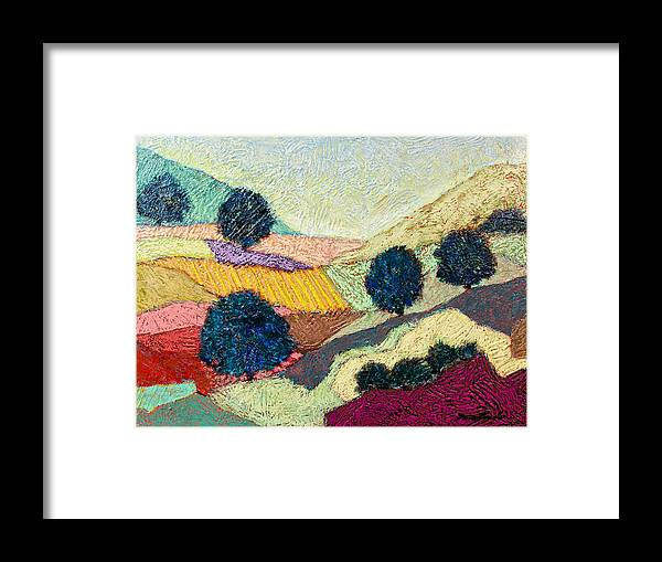 Landscape Framed Print featuring the painting Lost Valley by Allan P Friedlander
