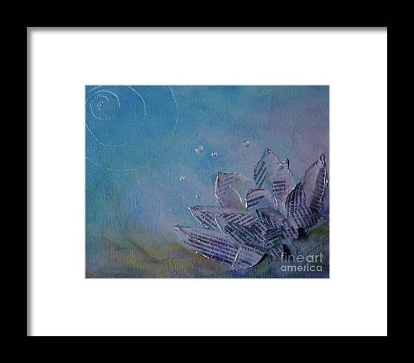 Mixed Media Framed Print featuring the mixed media Lotus Flower 3 by Sandra Taylor-Hedges
