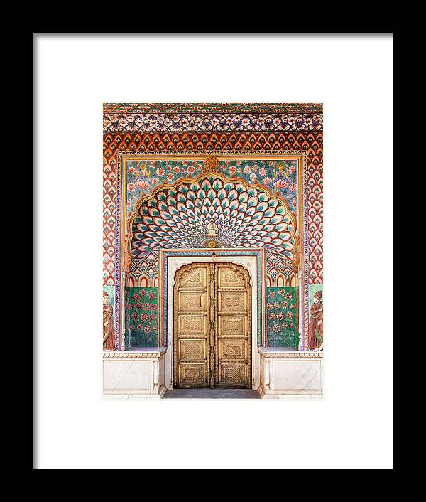 Arch Framed Print featuring the photograph Lotus Gate In Jaipur City Palace by Hakat