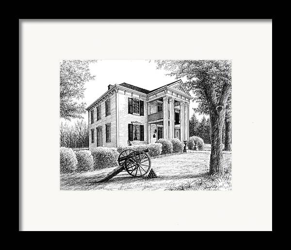 Battle Of Franklin Framed Print featuring the drawing Lotz House by Janet King