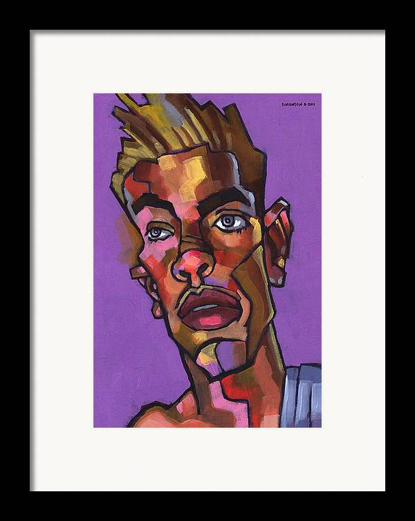 Portrait Framed Print featuring the painting Louie After His Shower by Douglas Simonson