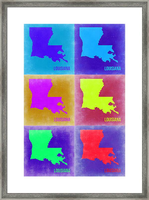 Louisiana Pop Art Map 2 Framed Print by Naxart Studio