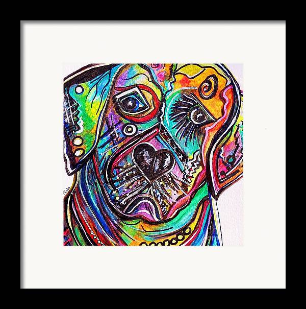 Lab Framed Print featuring the painting Lovable Lab by Eloise Schneider