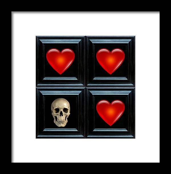 Black Framed Print featuring the digital art Love And Death Iv by Lee Kendall