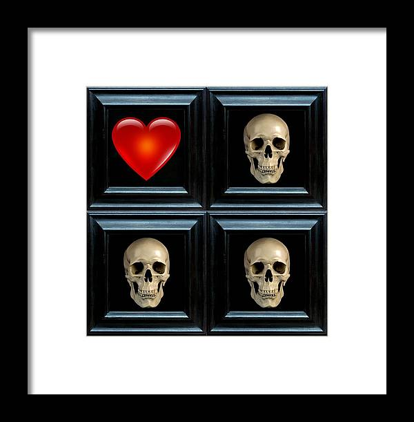 Heart Framed Print featuring the digital art Love And Death Xii by Lee Kendall