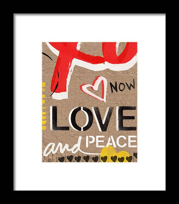 Love Framed Print featuring the painting Love And Peace Now by Linda Woods