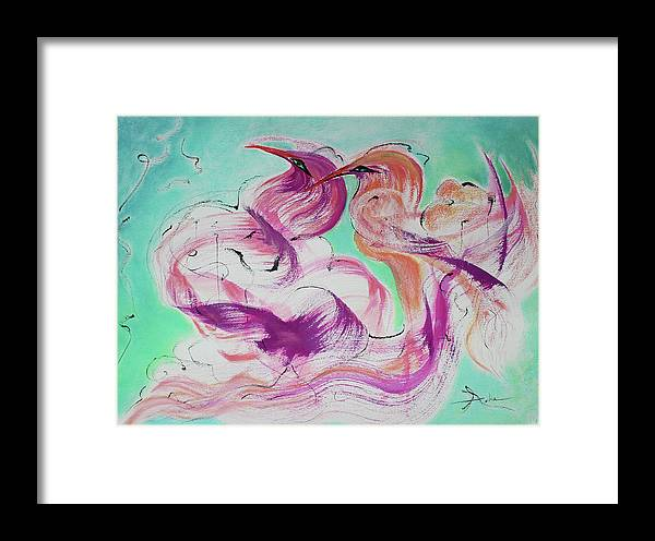 Abstract Painting Framed Print featuring the painting Love Birds by Asha Carolyn Young