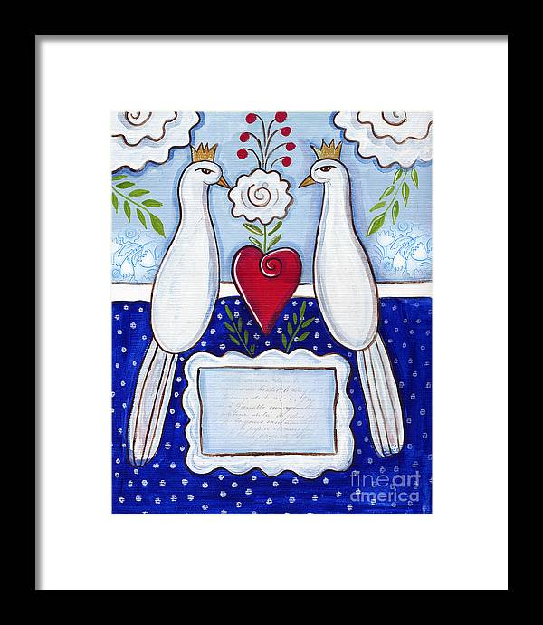 Birds Framed Print featuring the mixed media Love Birds by Elaine Jackson