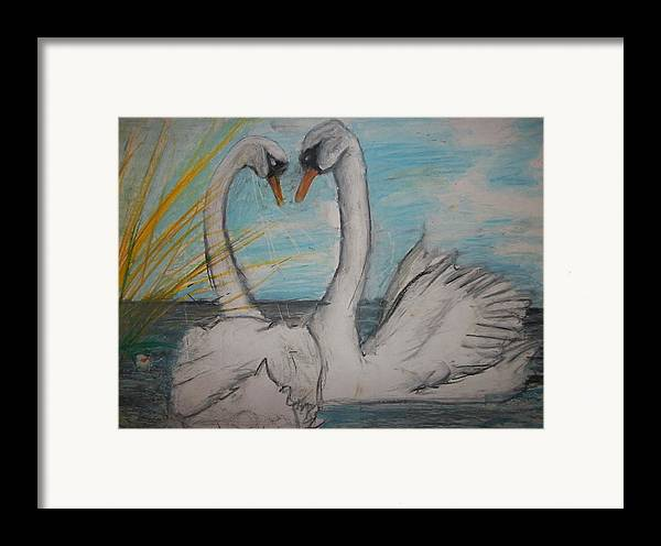Outdoor Framed Print featuring the pastel Love Birds by Jake Huenink