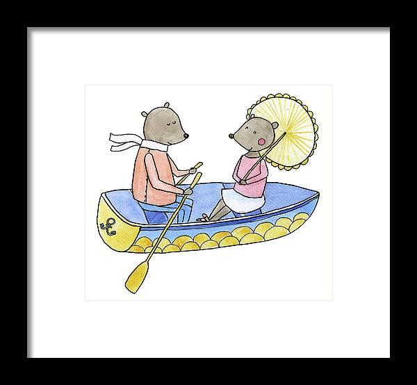 Bridegroom Framed Print featuring the digital art Love Boat Watercolor Illustration by Kili-kili